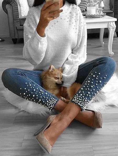 white sweater jeans with pearls heels
