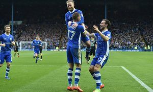 March 4th. 2017: Jordan Rhodes is mobbed by team-mates after scoring the fourth goal in a 5-1 win over Norwich City