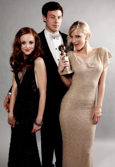 Glee cast - Jayma Mays, Cory Monteith, Heather Morris