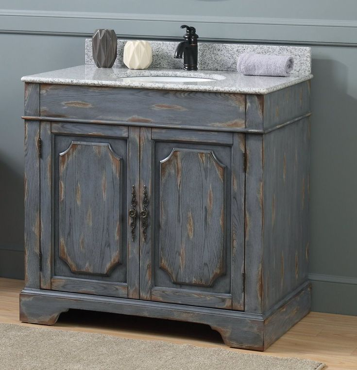 "36"" Benton Collection Litchfield Rustic Gray Distressed Boho Bathroom Vanity"