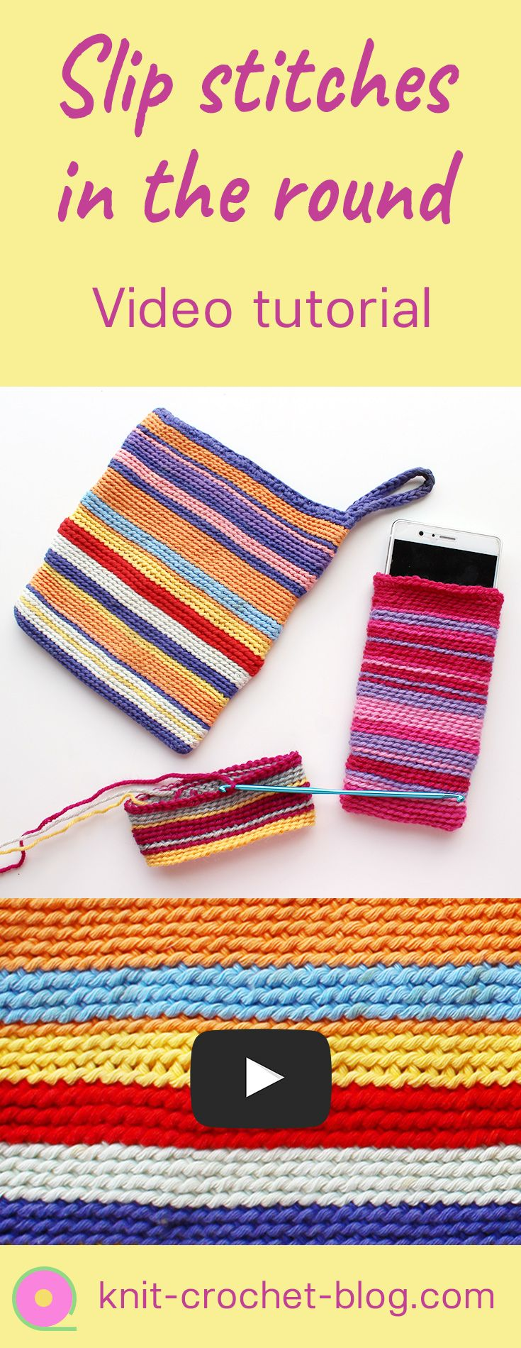 Easy tutorial for slip stitch crochet in the round. Create easy colorful crochet projects. You can use the technique for purses, bags, phone cases, tablet covers, pot holders, coasters and many more. Step by step instructions of the technique. Suitable for beginners.