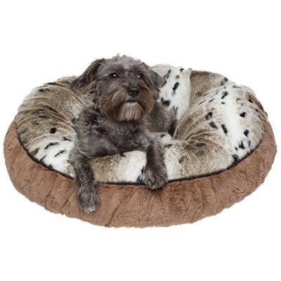 Snow Lynx / Taupe Embossed Dog Bed from  SimplyDogStuff.com is a cozy round cuddle bed,  made of a rich snow lynx faux fur animal print.  This bed will wrap your furbaby up in a nest of furry warmth, $130-300.          Round Cuddle Beds are available in several sizes:        XXSmall - 20 diameter   XSma