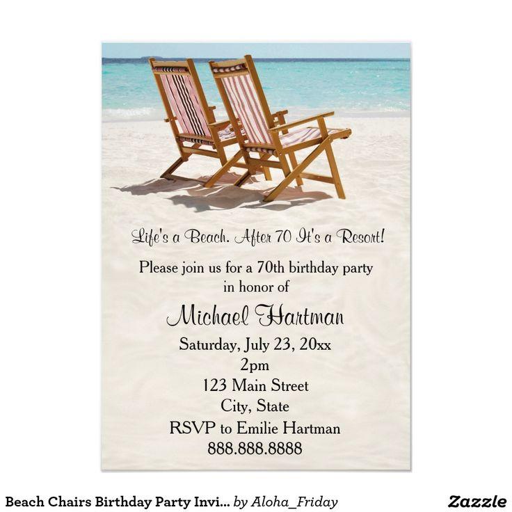 Beach Chairs Birthday Party Invitations