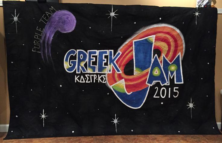 "90's themed, ""Greek Jam,"" Greek Week banner with Kappa Delta, Sigma Gamma Rho, and Kappa Sigma."