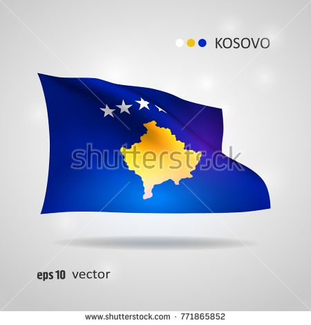 Kosovo 3D style glowing flag fluttering on the wind. EPS 10 vector created using gradient meshes isolated on light background. Shiny design element from world flags collection