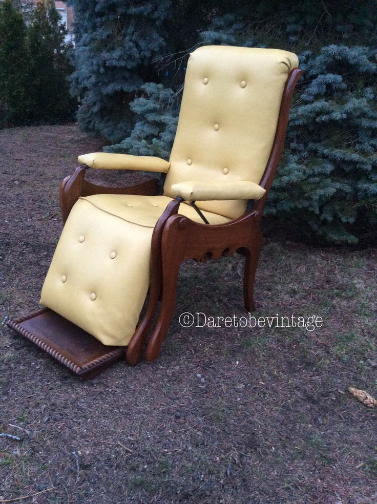 Rare Mid Century Modern Recliner Lounge Chair - Antique Victorian Reclining Library Drs Chair - Danish Modern Lounge Chair - by DareToBeVintage on Etsy