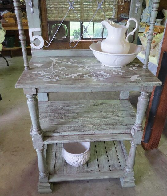 Timeless Treasures: Potting Table/ WashStand or display. DIY