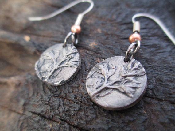 Thyme Real Leaf Earrings Steel Precious Metal by KemeJewellery