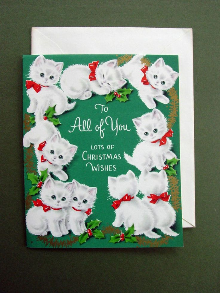 Vintage Unused Xmas Greeting Card 9 Adorable Kittens in Red Bows, So Cute