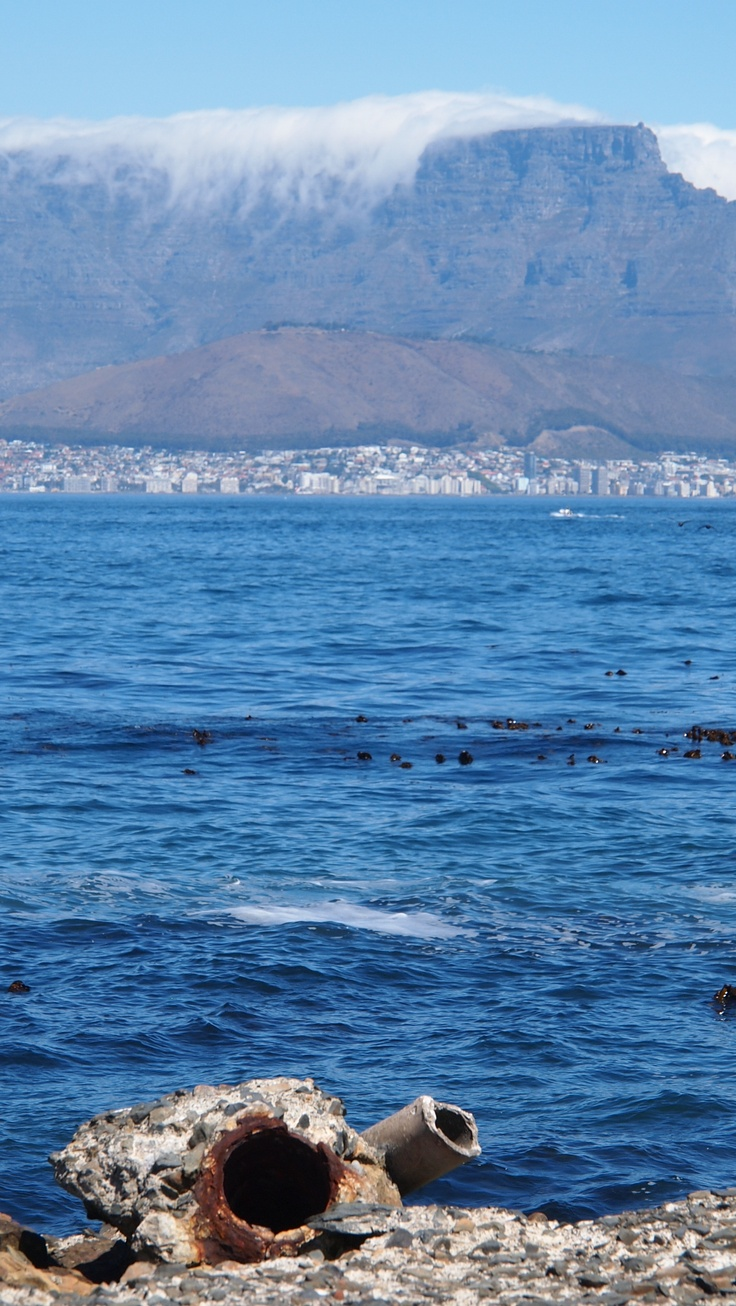 View of Table Mountain from Robben Island (Cape Town, South Africa)