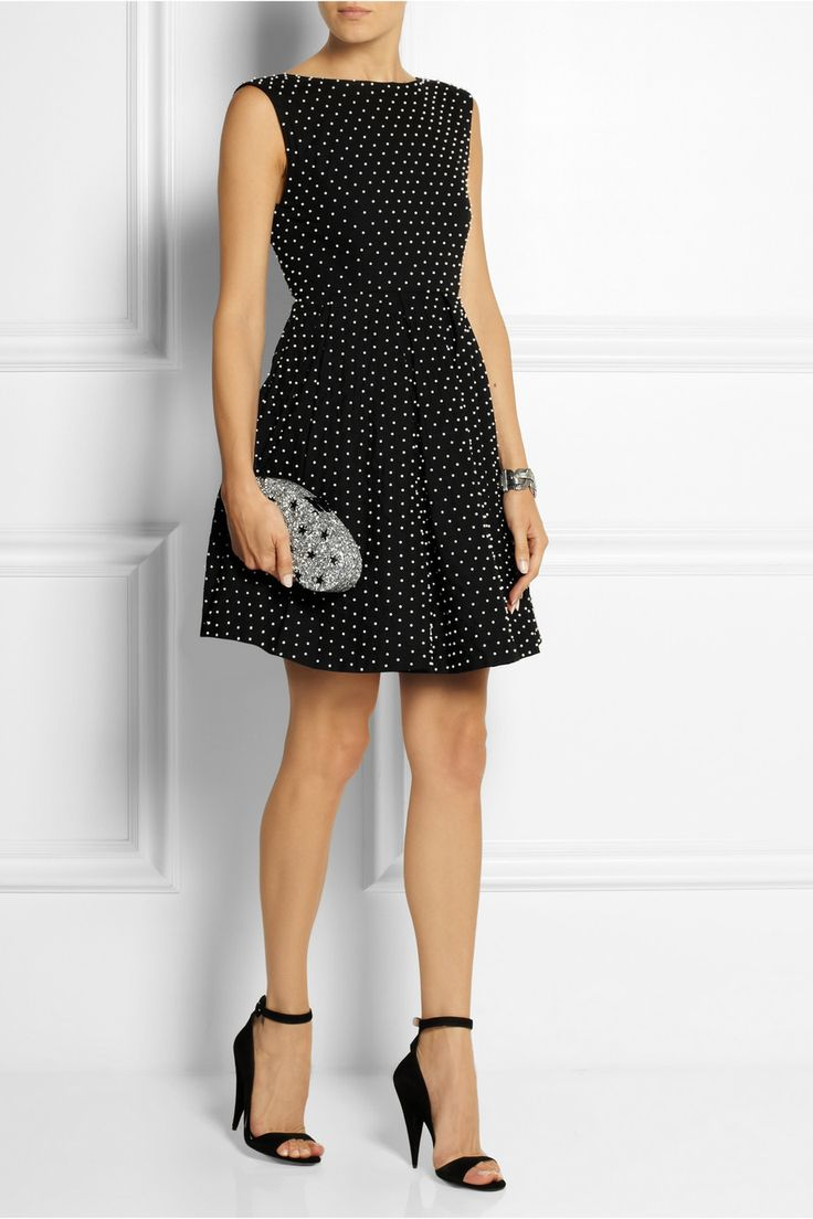 Alice + Olivia Black Pearl-Embellished Cotton Mini Dress-$700.00