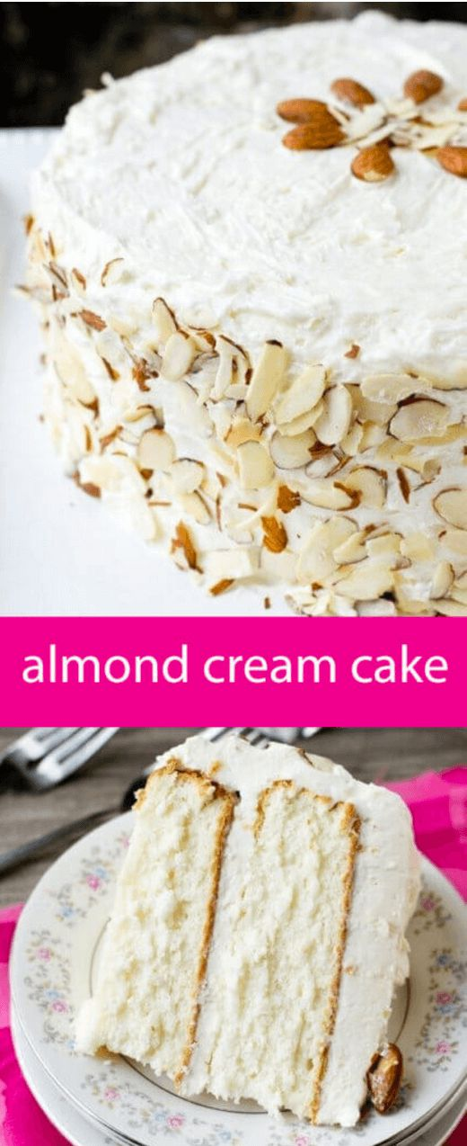 If you're looking for the best homemade white cake, this is it! Almond Cream Cake, 100% from scratch with a silky smooth cooked flour frosting. via @thebestcakerecipes