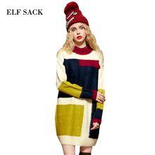 Elf SACK yw winter female fashion colorant match long cashmere yarn small turtleneck one-piece dress(China (Mainland))