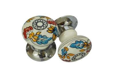 Beautifully Handcrafted Floral Painted Ceramic Mortise Door Turners