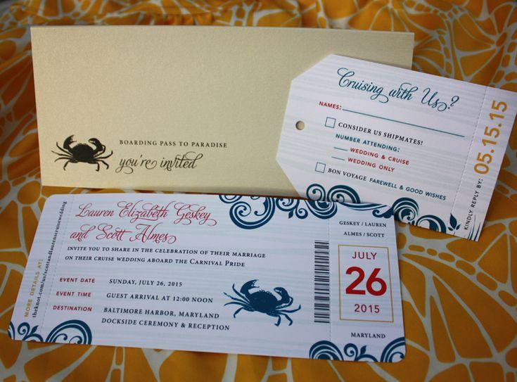 Red, Blue & Yellow Swirls & Crab Cruise Ticket Wedding Invitations