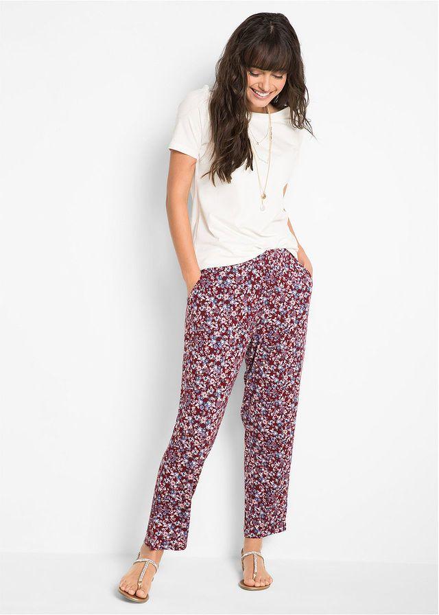Spodnie Z Dzerseju 7 8 Czerwony Kasztanowy W Kwiaty Bonprix Sklep Harem Pants Fashion Pajama Pants
