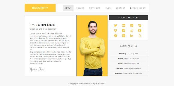 Resumify - One page resume Template by ThemeZet on @creativemarket