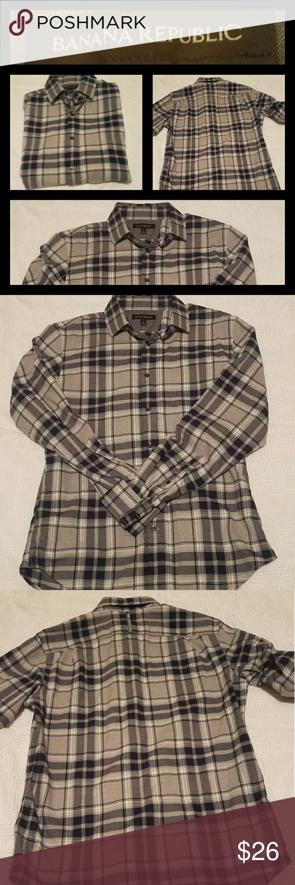 Banana Republic Flannel Beautiful, quality flannel shirt in black/charcoal plaid.  Great used condition. Banana Republic Shirts Casual Button Down Shirts