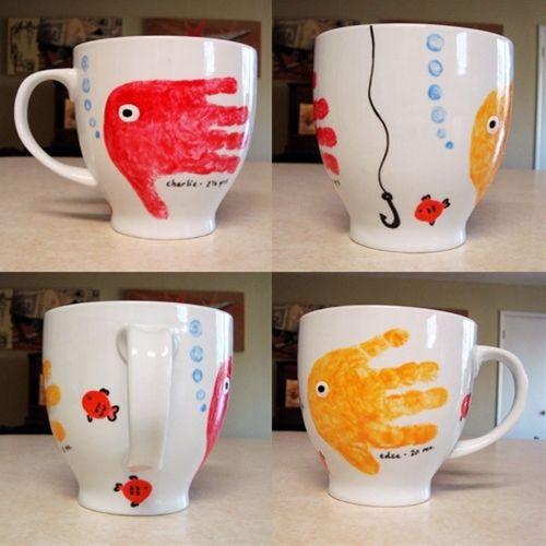 Cute gift - fish handprint mug.  Click image to find more DIY & Crafts Pinterest pins