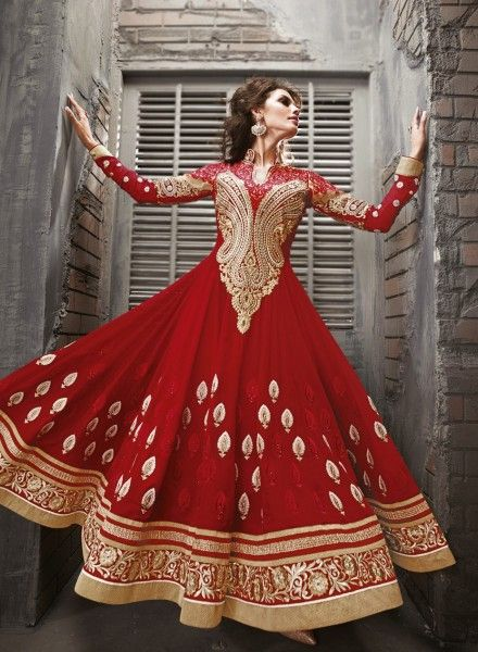 Red Abaya Style Anarkali In Faux Georgette . Shop at - http://www.gravity-fashion.com/red-abaya-style-anarkali-in-faux-georgette-gf7140218.html