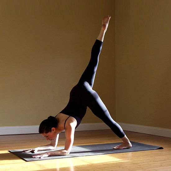 14 variations of the down dog    From Down Dog, lower the forearms coming into Quarter Dog. Step both feet together so your big toes are touching. Keeping your shoulders parallel with the ground, slowly raise your right leg into the air on an inhale. Continue pressing your left heel toward the floor, gazing between your hands. After five breaths, switch sides,…