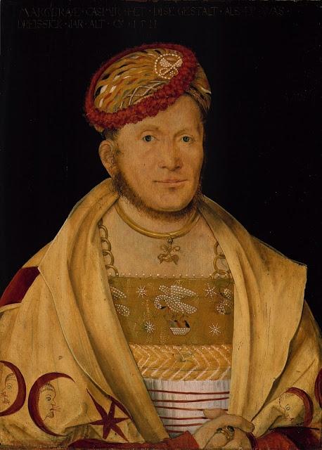 Reinette: German Style from 1468-1588. Portrait of Casimir,Margrave of Brandenburg-Kulmbach by Hans von Kulmbach,1511 Pelican in her piety brustfleck.