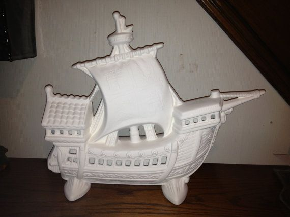 Spanish Galleon Sailing Ship Model.  In Ceramic by hellocrafters, $15.00
