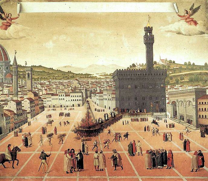 Hanging and burning of Girolamo Savonarola in Piazza della Signoria in Florence in 1498.