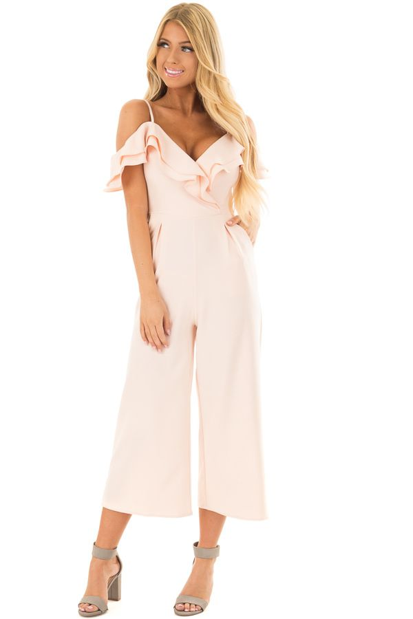 2e137beca8 Lime Lush Boutique - Light Pink Ruffle Neckline Jumpsuit with Pockets