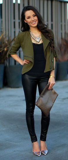 Olive Jacket and Leather Leggings. Leather Look Leggings available at Essex'ee Legs- http://www.essexylegs.co.uk/Leggings/ CUTE CUTE OUTFIT!! OUT TO DINNER & DRINKS