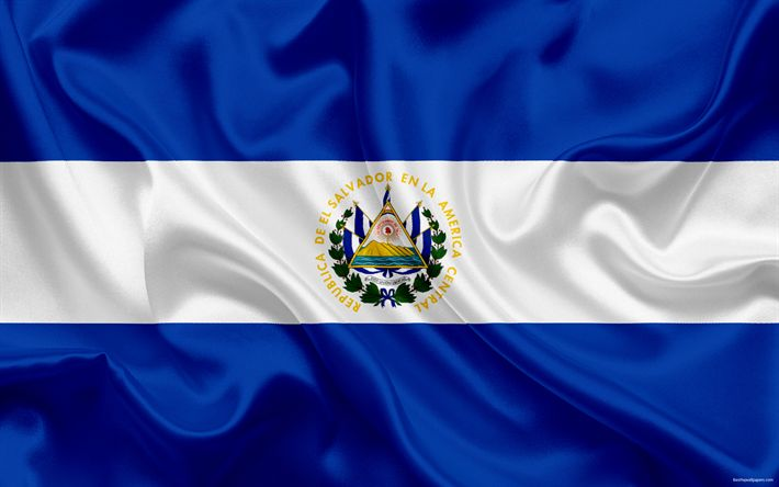 Descargar fondos de pantalla bandera de El Salvador, América Central, El Salvador, los símbolos nacionales, la bandera nacional
