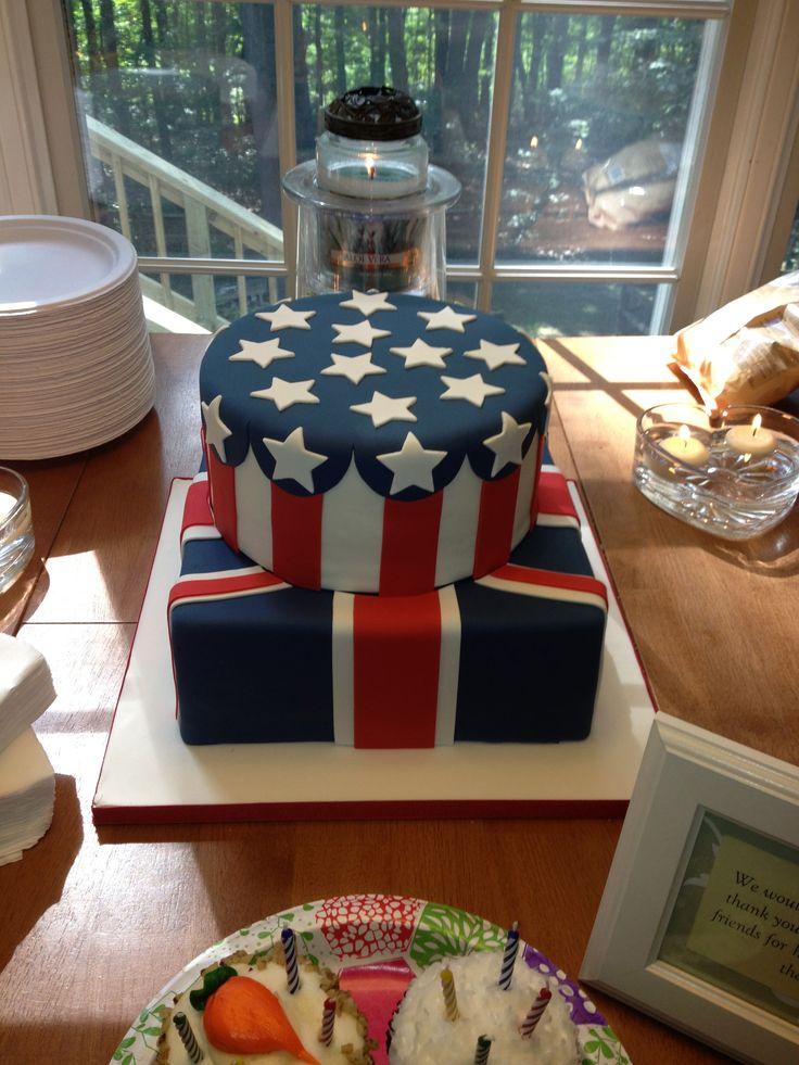 American + Union Jack Flag Cake