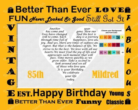 Personalized 85th Birthday Gift 85th Birthday Poem Heart Print 8 X 10 85 Birthday Gift Ideas for Any Year