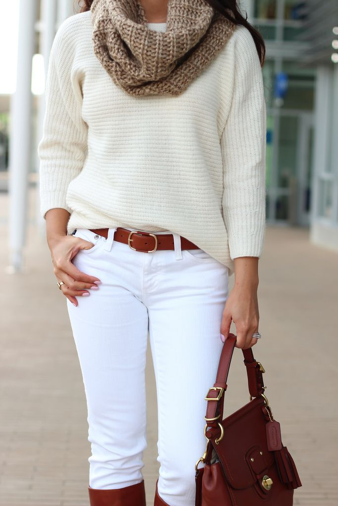 Casual Weekend Outfit: Winter Whites and Cognac: ribbed wedge sweater - scarf - white jeans - cognac leather boots - cognac leather purse. Click on the following link to see all of the photos and outfit details: http://www.stylishpetite.com/2013/12/casual-weekend-outfit-winter-whites-and.html