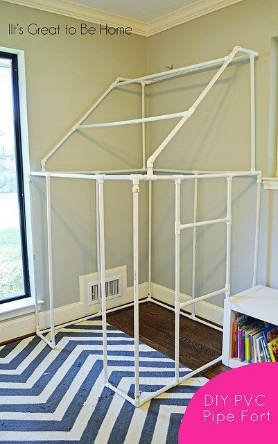 DIY PVC pipe fort. This would be SOOO cool. This is definitely on my list for things I'd like to do with my future children. :)
