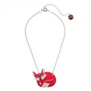 Erstwilder Sacha Sleeping Fox Necklace - red
