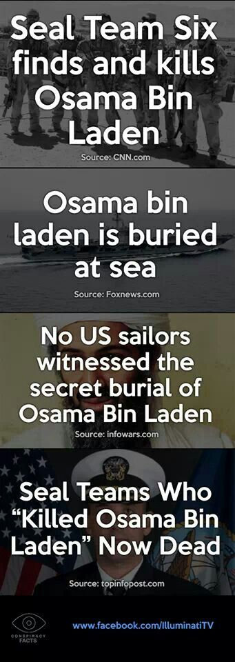 """Strange facts about the so-called """"death"""" of Osama Bin Laden   THAT'S WHY 35 MEMBERS OF SEAL TEAM 6 ARE DEAD....SO THEY CAN'T SPEAK OUT."""