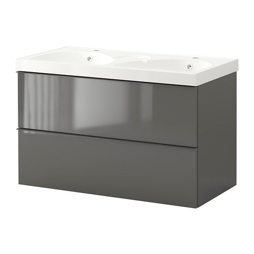 GODMORGON/EDEBOVIKEN Sink Cabinet With 2 Drawers   High Gloss Gray   IKEA