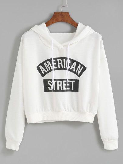 Sudadera estampada de letras con capucha - blanco