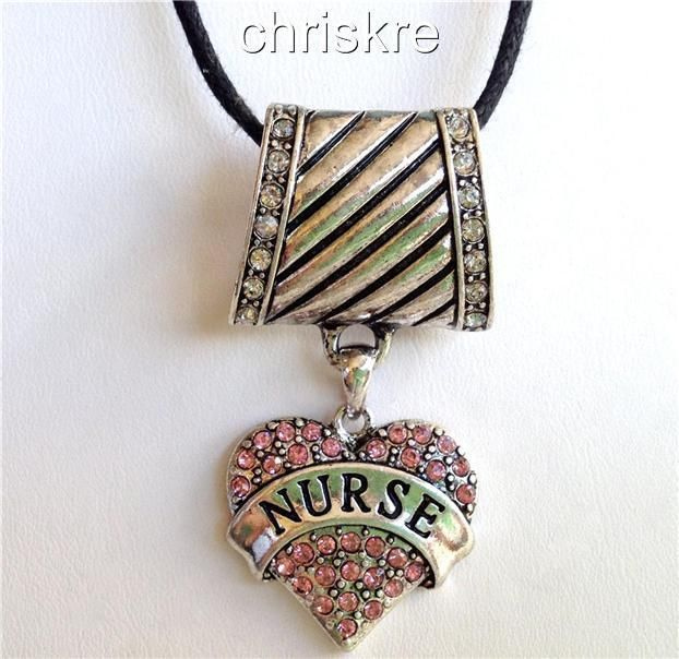 Nursing Silver Necklace Scarf Pendant Sweater Graduation Gift Nurse Pink Crystal #Pendant