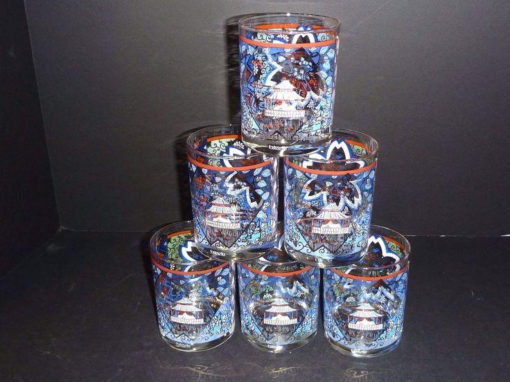 Set of 6 Vintage 70's Mid Century Tastesetter Bar Rocks Glasses Asian Pagoda