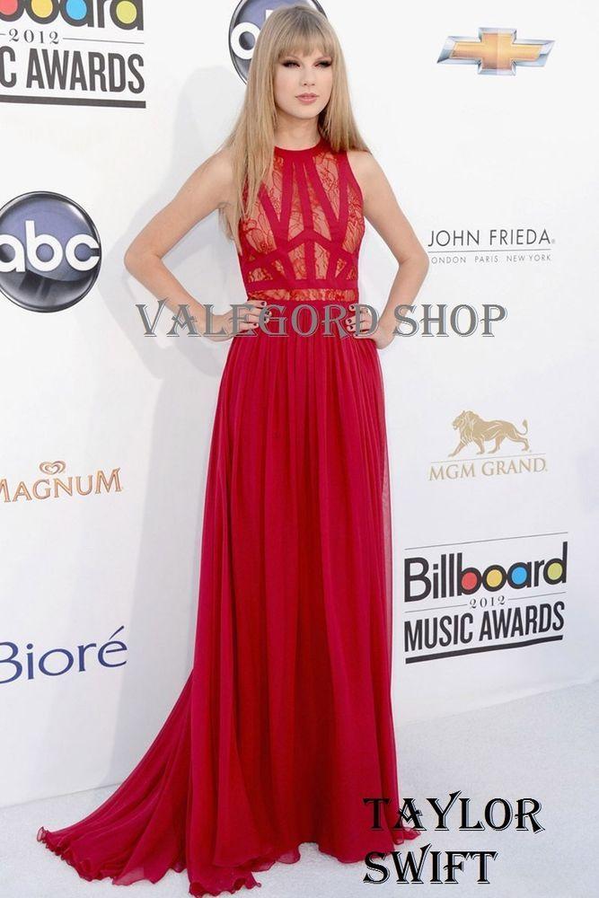 AbitoTaylor Swift lungo vestito CHIFFON PIZZO ROSSO Cerimonia Dress ELEGANTE 10