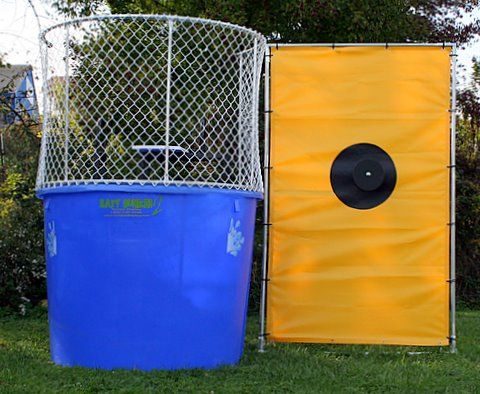 "Our Easy Dunker dunking tanks have been delighting crowds for years. The concept of dunking the boss at the company picnic, or dunking the local ""celebrity"" at fundraiser events has become an American pastime.  http://www.twisterdisplay.com/Easy-Dunker-No-Window/"