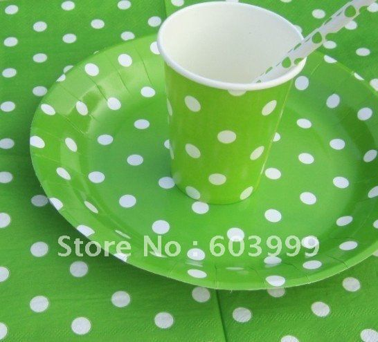 240X Lime Green Polka Dots Party Supplies PARTYWARE Party Decorations Lime Spotty napkin cups plate paper straws free shipping-in Event & Party Supplies from Home & Garden on Aliexpress.com