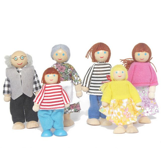 Bebé muñecas de madera 6 Familiares enteros Los Padres marioneta muñecas modelo Juguetes Niños Niños mecedora movimiento para jugar juego de la casa