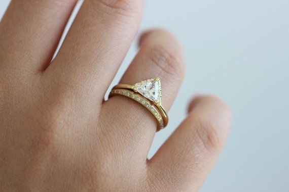 Diamond Bridal Wedding Set with Trillion Diamond Ring by artemer