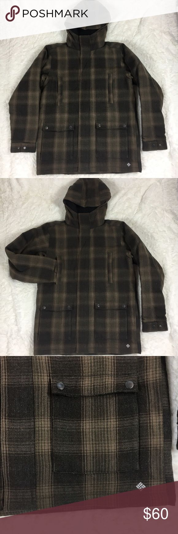 "Columbia Brown Plaid Parka Women's Medium Columbia sportswear company    Brown plaid parka. Size medium. Sleeves 27"" chest 23"" length 31"".         90% acrylic 10% wool with nylon lining. Advanced repellency. Full zip. Lots of pockets. Omni shield. Like new condition. Columbia Jackets & Coats"