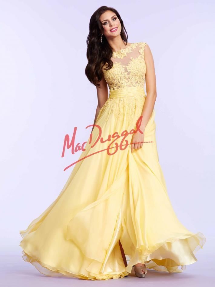 Lemon Yellow Prom Dress Lace Mac Duggal 10022m Mac