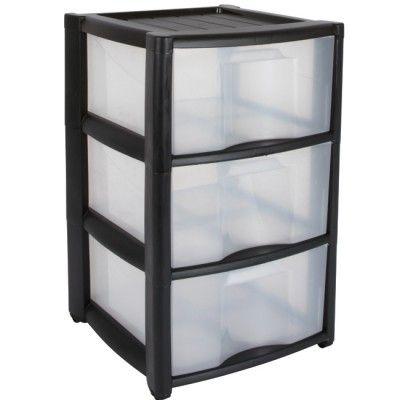 18 Tour 3 tiroirs noir, à roulettes, dim. 37x38x60 cm, plastique.