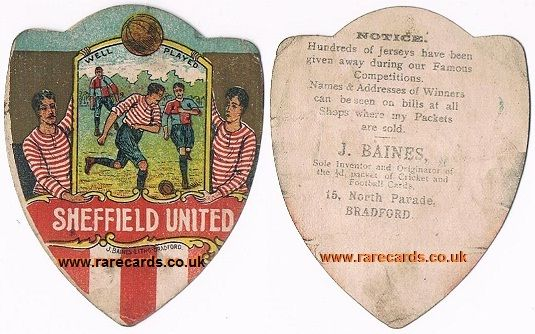 Blades Baines! Sheffield United on a very rare c1900 trade card by Baines of Bradford.   www.rarecards.co.uk #sheffield united#the blades#brammall lane#Baines#J.Baines of Bradford#Baines shield#15 North Parade#www.rarecards.co.uk#soccercard#soccer cards#football card